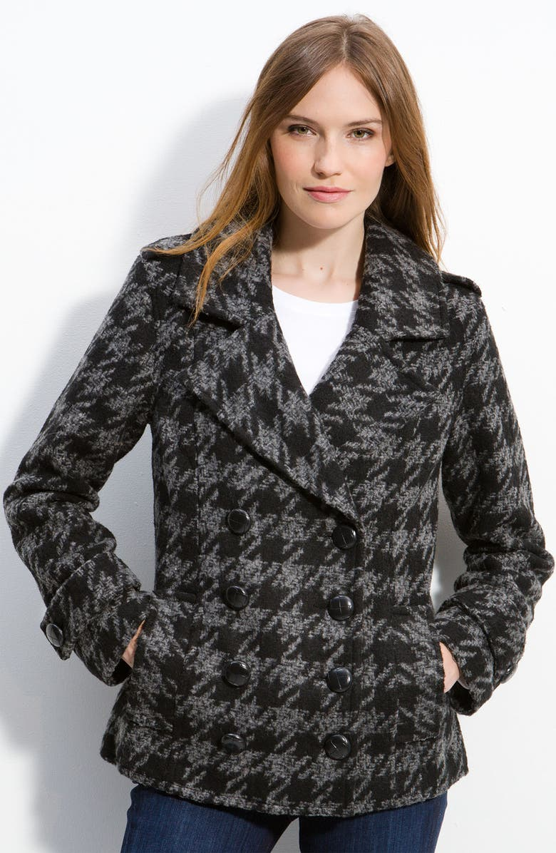 NICK & MO Double Breasted Houndstooth Peacoat, Main, color, 001