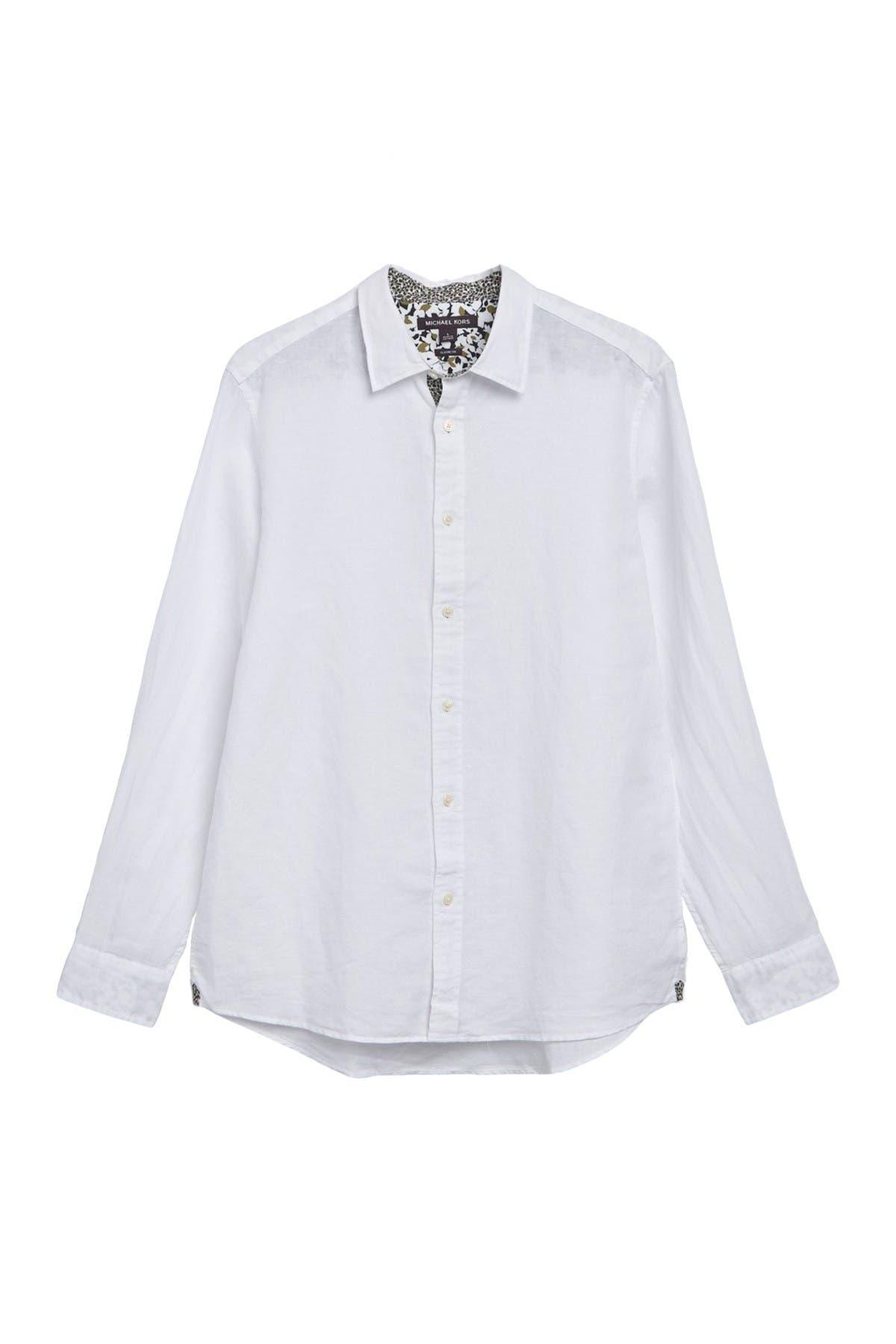 Image of Michael Kors Linen Blend Long Sleeve Shirt