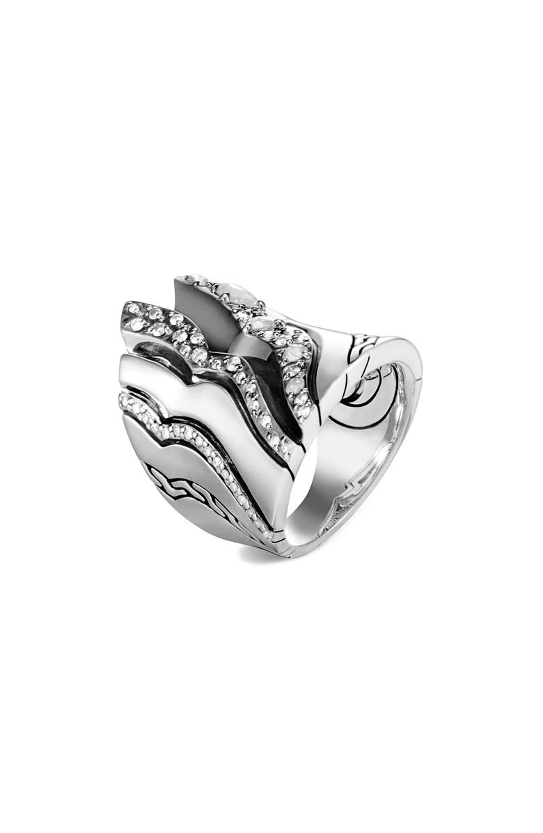 JOHN HARDY Lahar Diamond Statement Ring, Main, color, SILVER/ DIAMOND