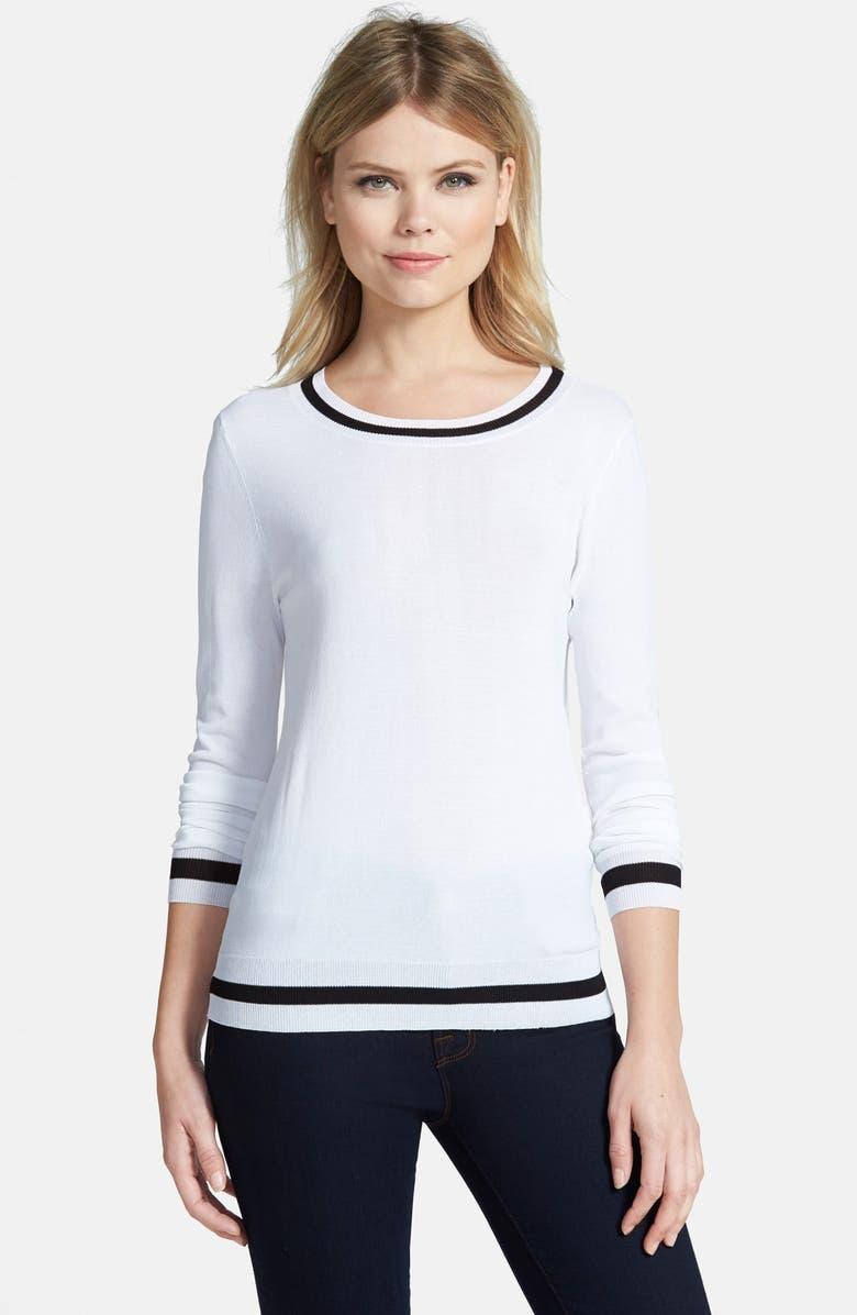 TROUVÉ Stripe Trim Sweater, Main, color, 100