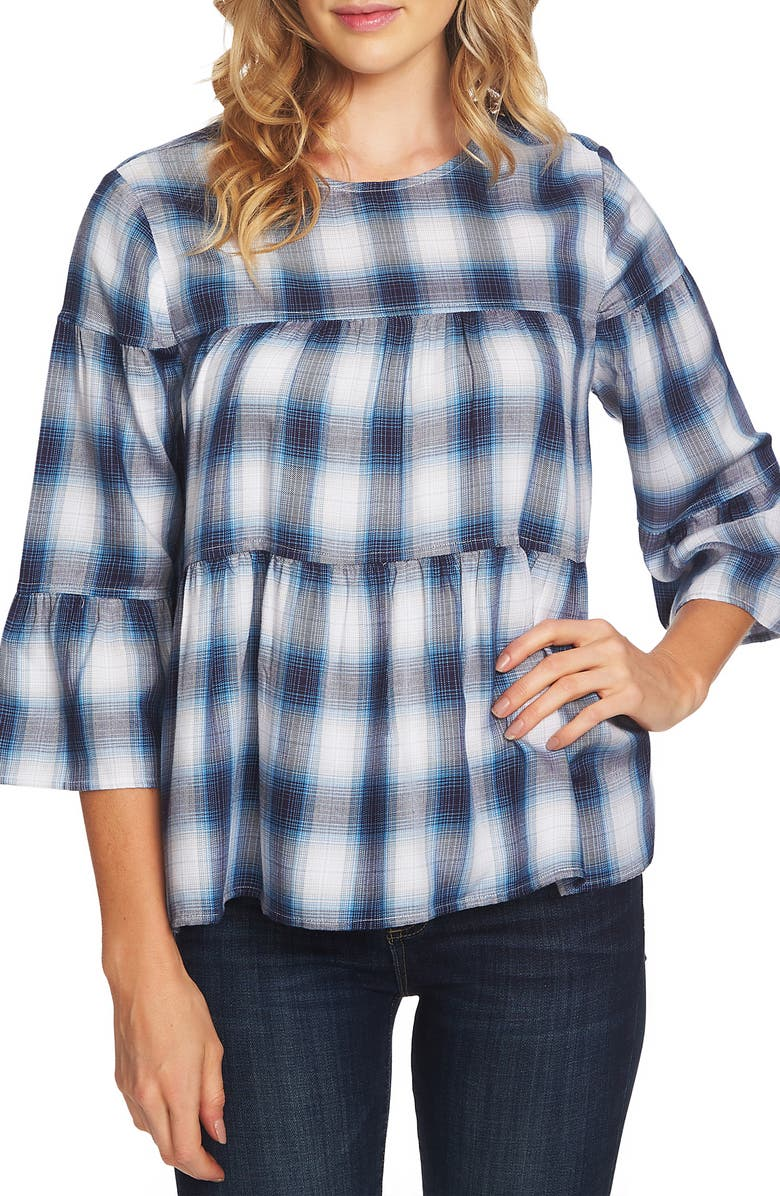 e786a5e7c89b5 Vince Camuto Ombré Plaid Tiered Ruffle Top | Nordstrom