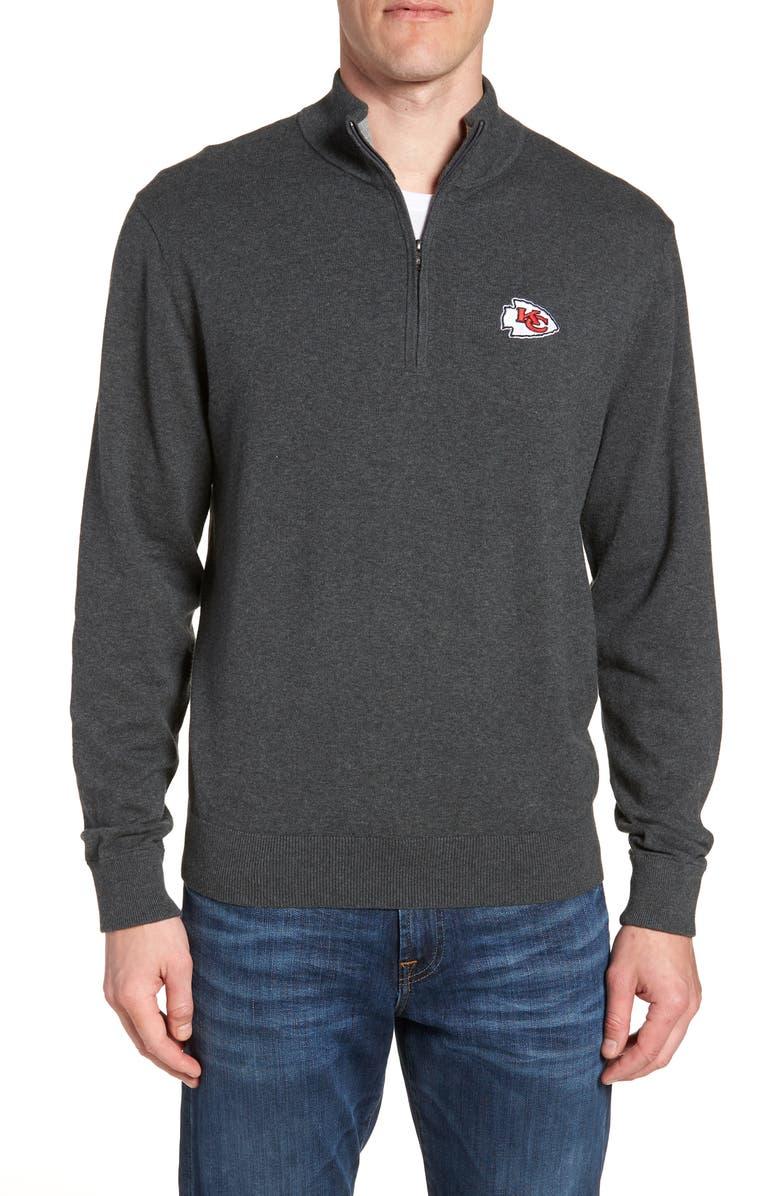 CUTTER & BUCK Kansas City Chiefs - Lakemont Regular Fit Quarter Zip Sweater, Main, color, CHARCOAL HEATHER