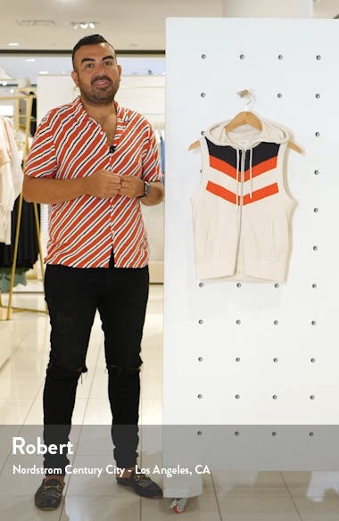 Colorblock Chevron Hooded Zip Vest, sales video thumbnail
