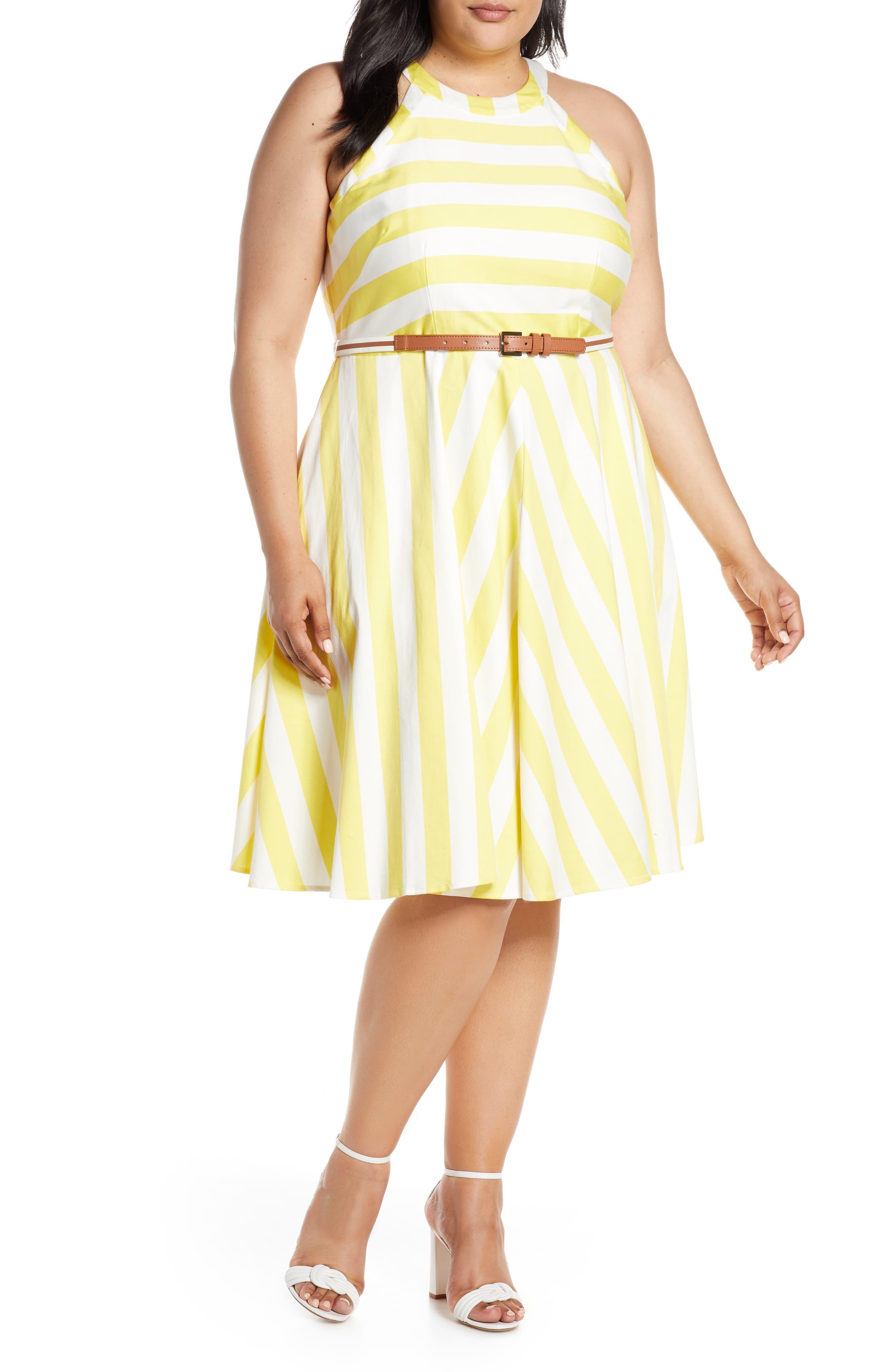 Plus Size Eliza J Halter Fit & Flare Dress, Yellow