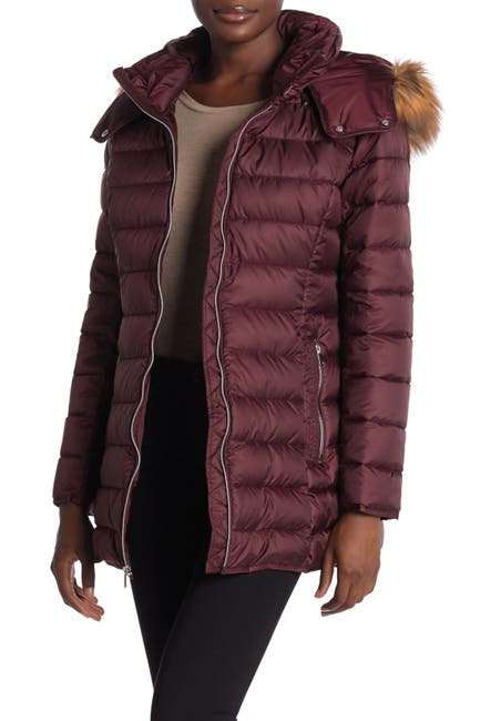 Image of Andrew Marc Eleanor Zip Up Faux Fur Lined Coat