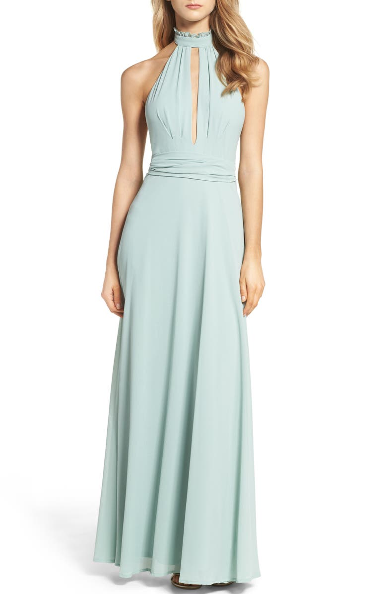 LULUS Ruffle Neck Halter Gown, Main, color, 300