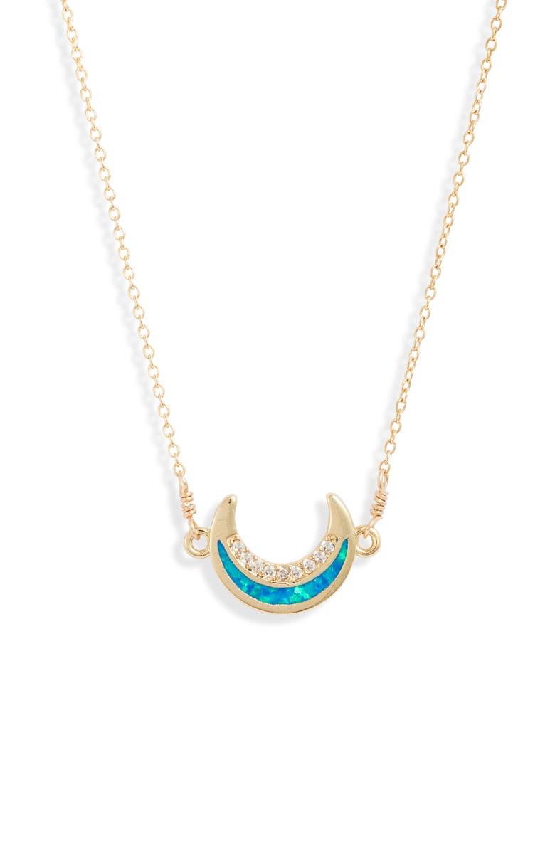 SET & STONES Saylor Moon Pendant Necklace, Main, color, GOLD/ BLUE