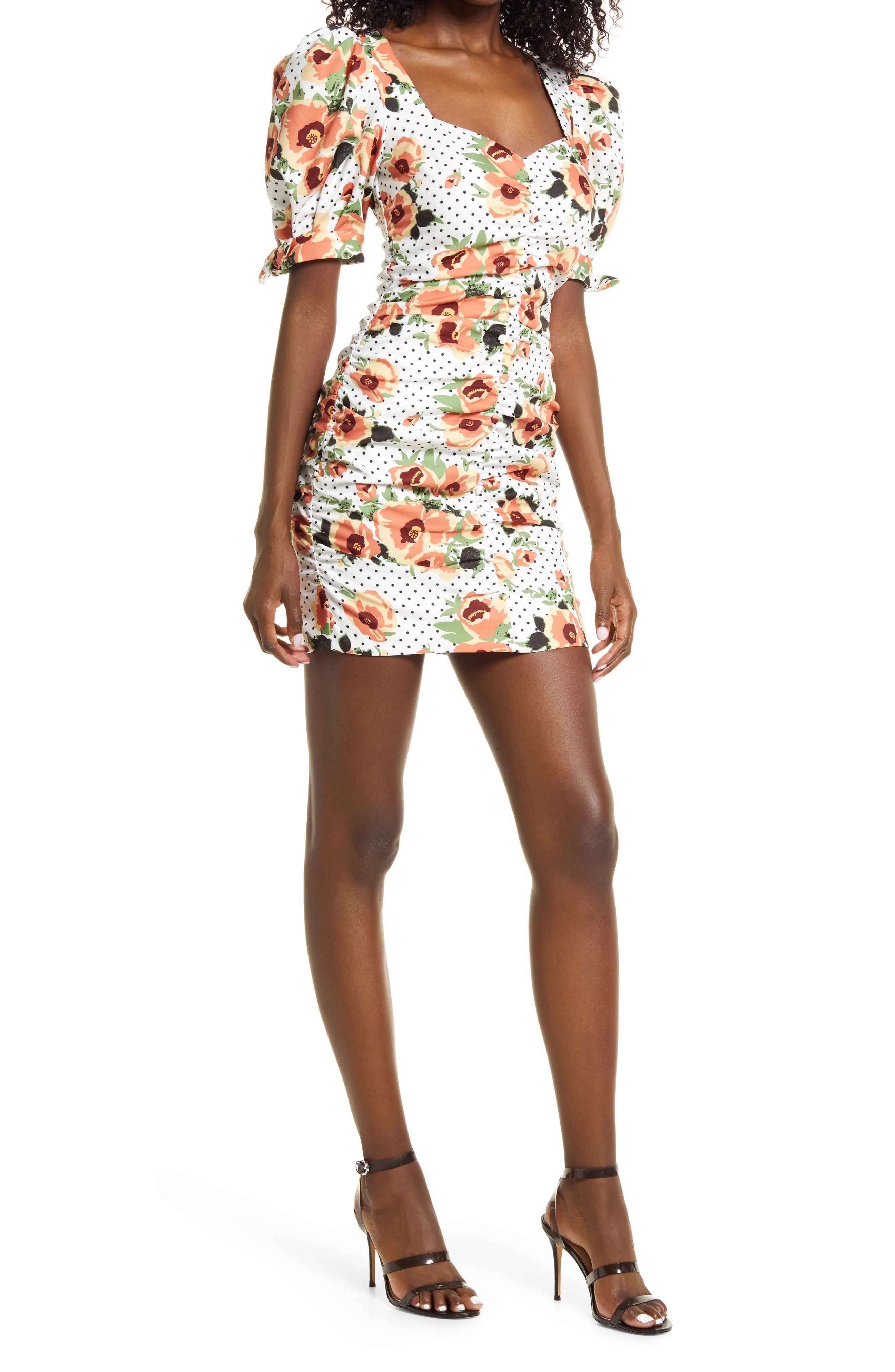 Floral Dot Ruched Dress