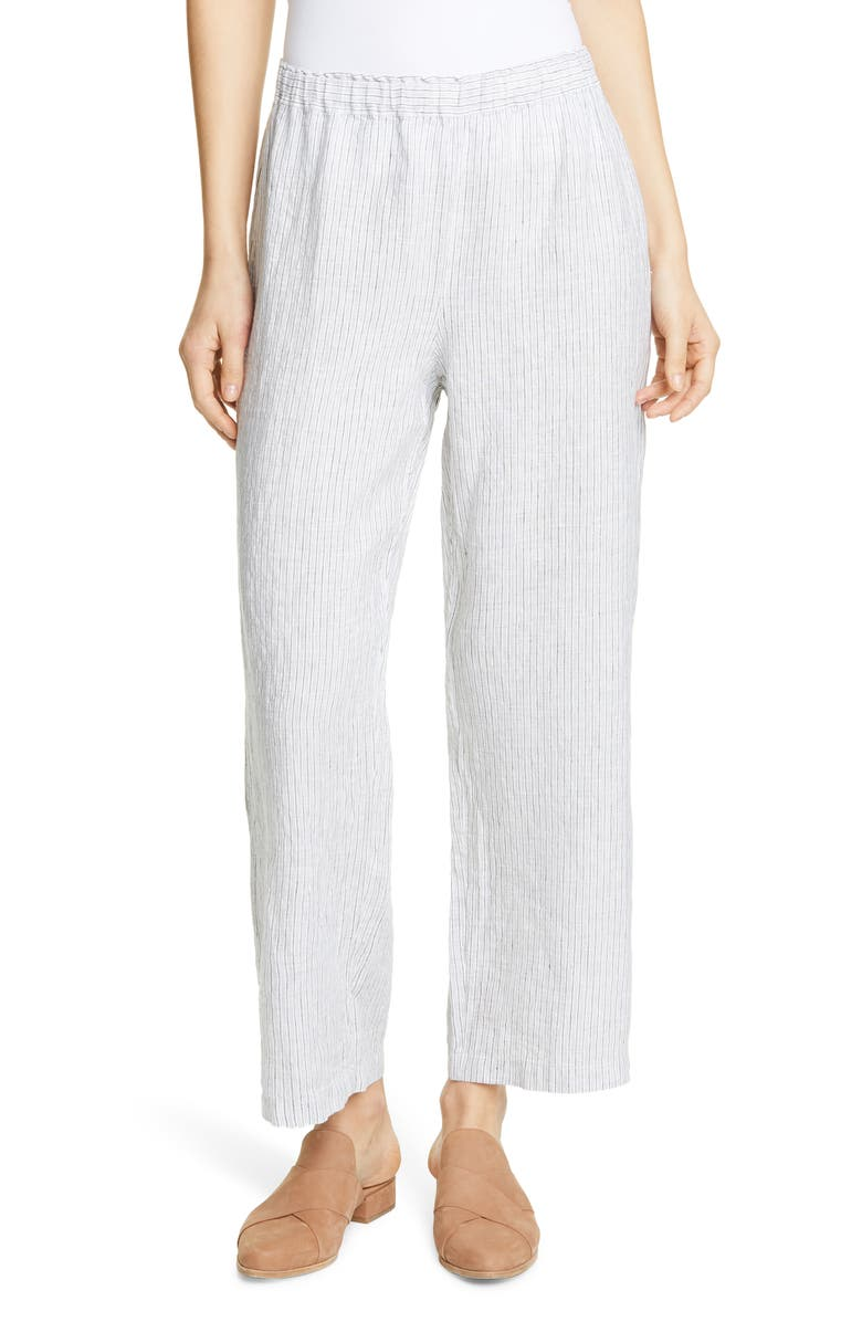 Eileen Fisher Stripe Straight Leg Crop Linen Pants Regular Petite
