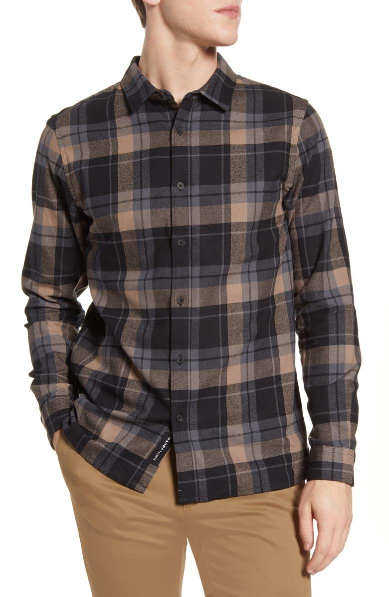 NATIVE YOUTH Azari Plaid Flannel Button-Up Shirt, Main, color, BLACK