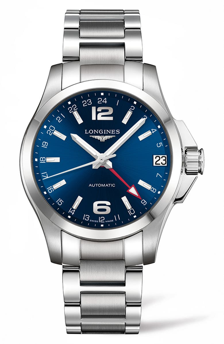 LONGINES Conquest Automatic Bracelet Watch, 41mm, Main, color, SILVER/ BLUE/ SILVER