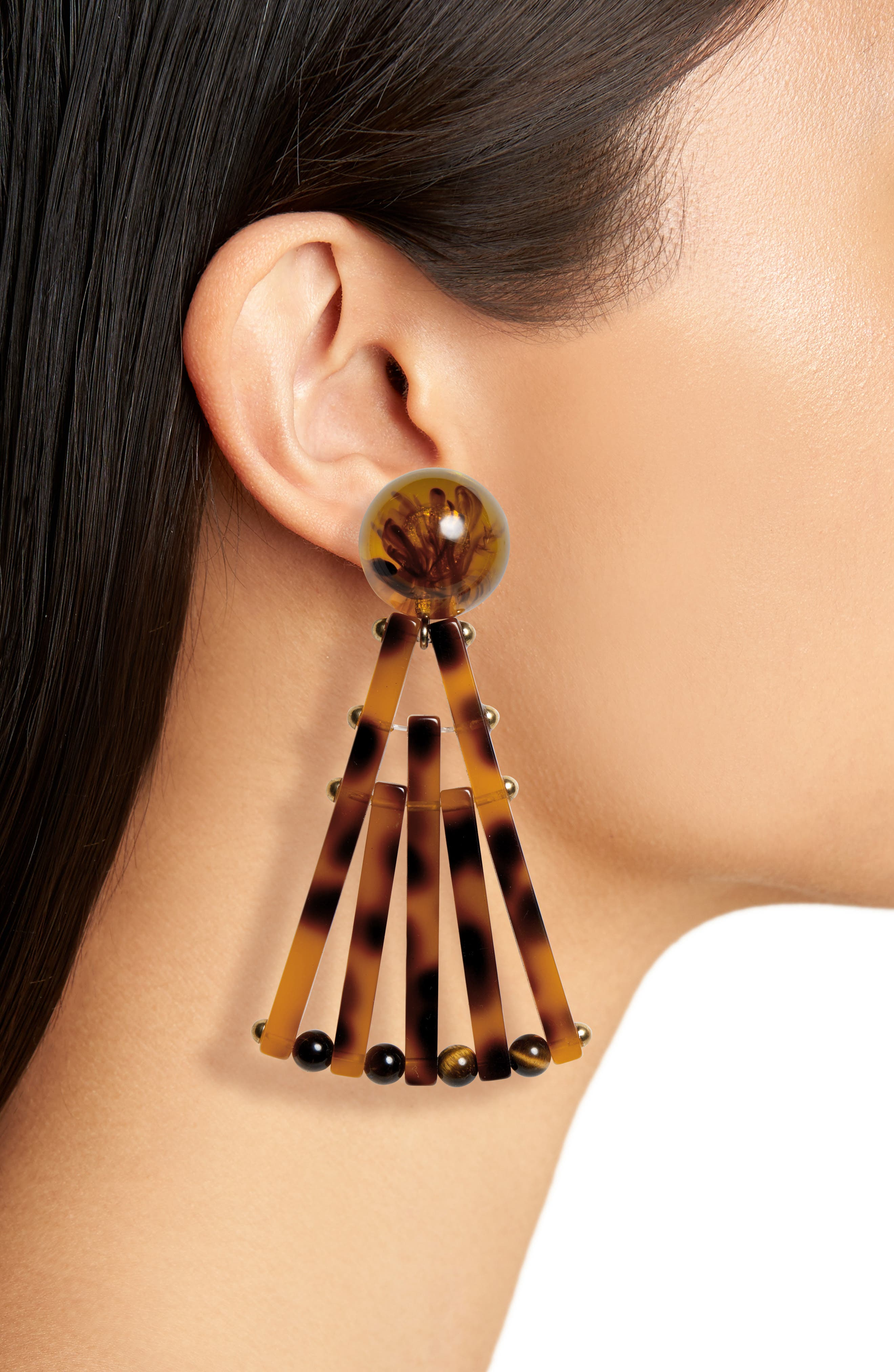 ,                             Acrylic Fan Earrings,                             Alternate thumbnail 2, color,                             TORTOISE