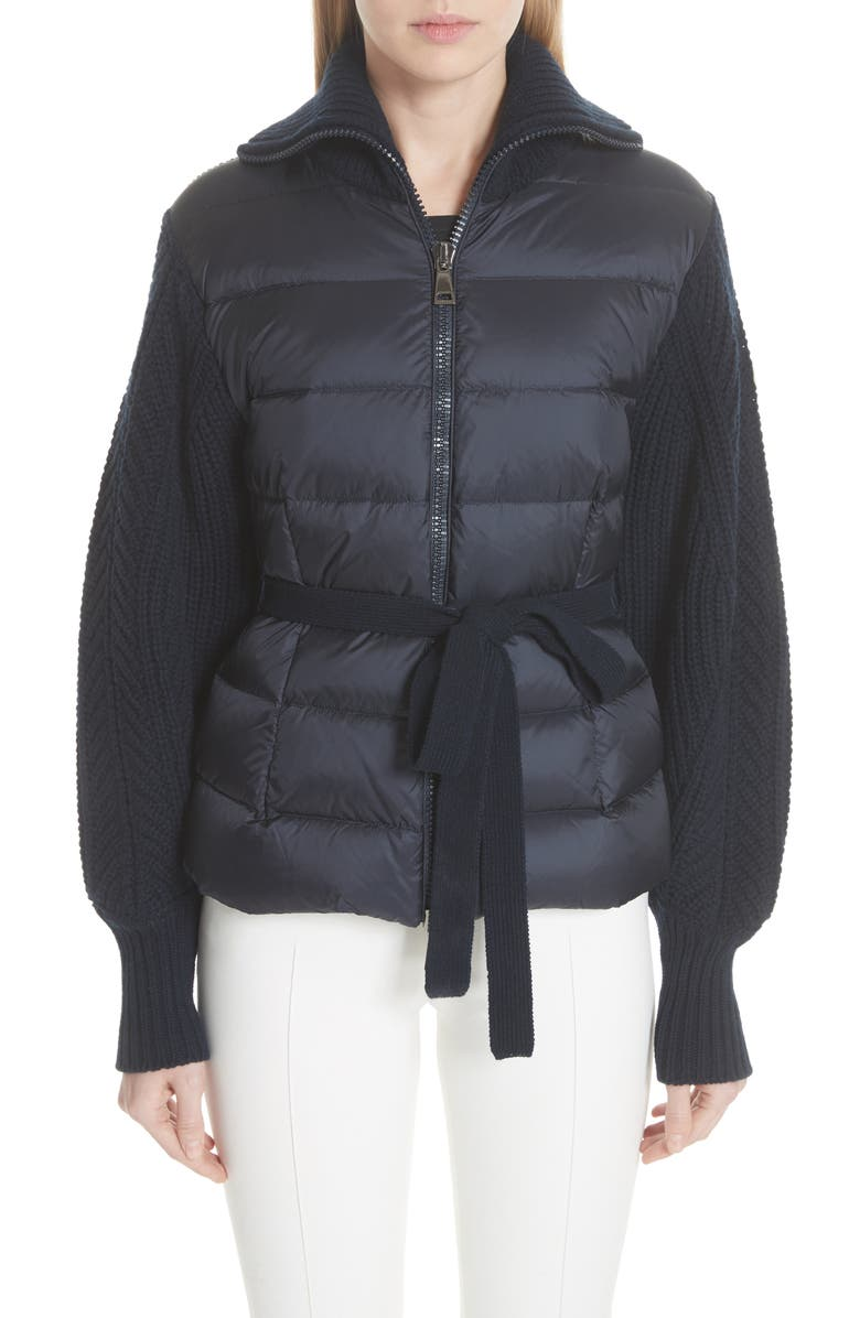 MONCLER Maglione Quilt Front Belted Wool & Cashmere Cardigan, Main, color, NAVY