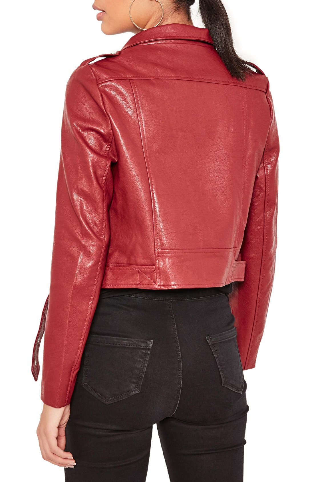 ,                             Faux Leather Moto Jacket,                             Alternate thumbnail 4, color,                             930