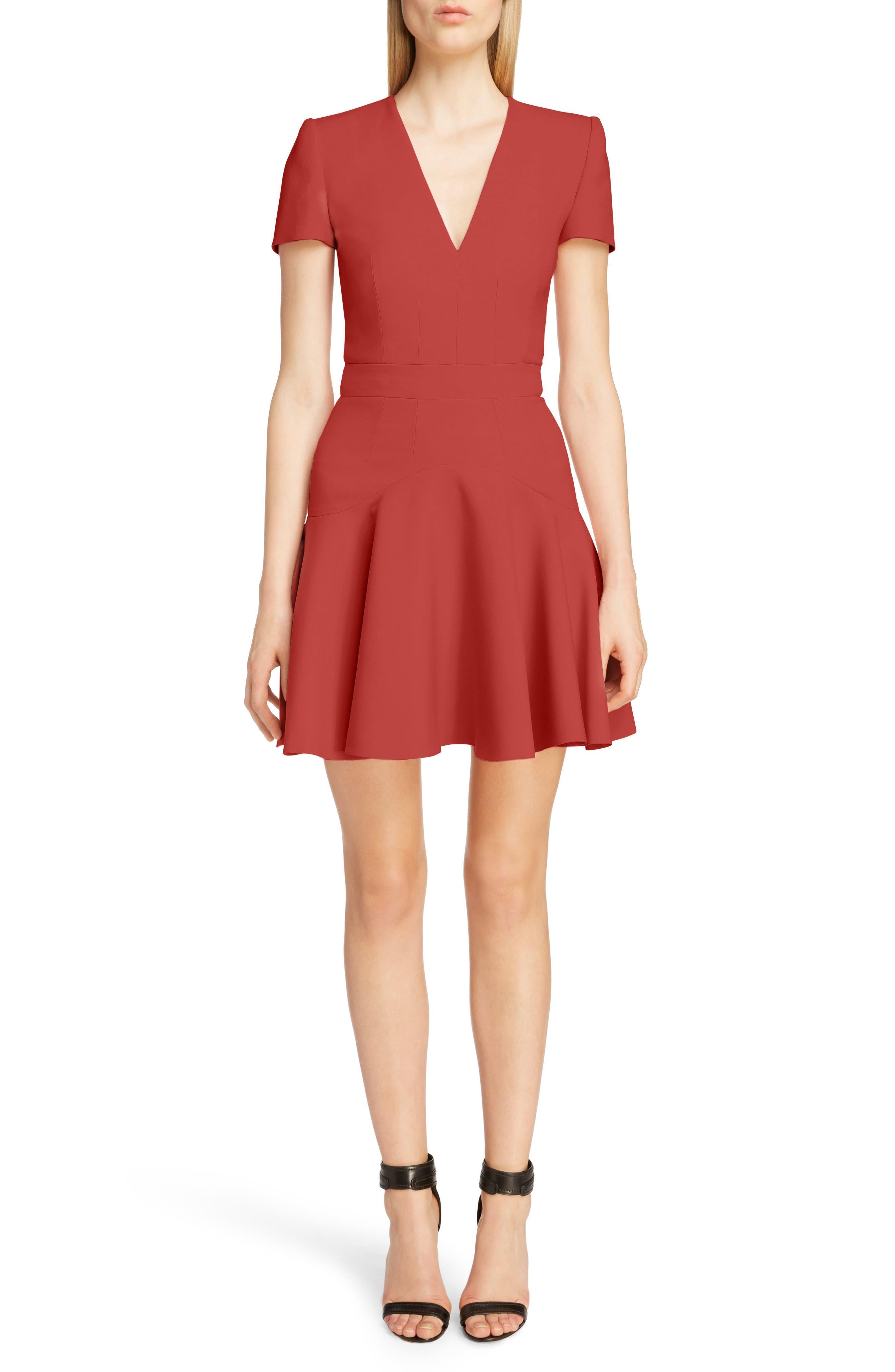Alexander Mcqueen Wool & Silk Blend Minidress, US / 44 IT - Red