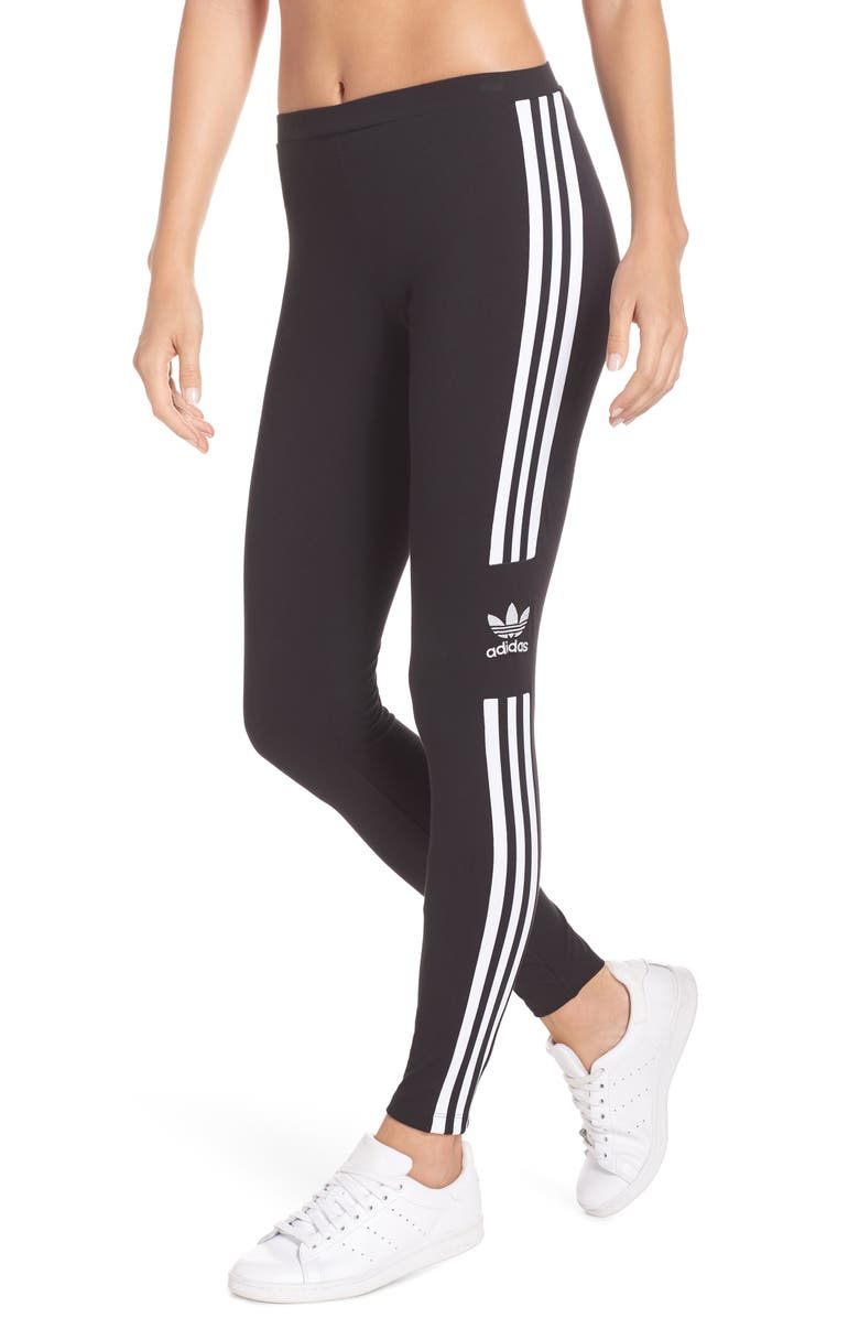 ADIDAS ORIGINALS adidas 3-Stripes Logo Leggings, Main, color, BLACK