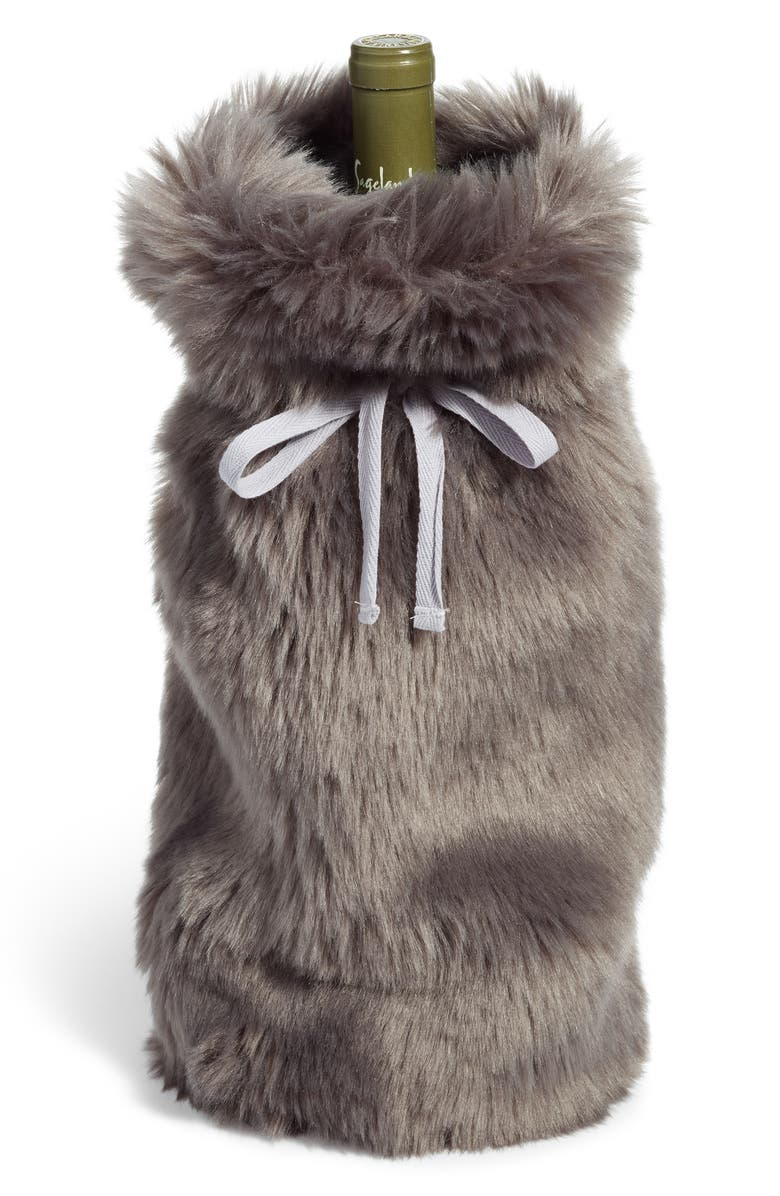 NORDSTROM at Home Cuddle Up Faux Fur Wine Bag, Main, color, 021