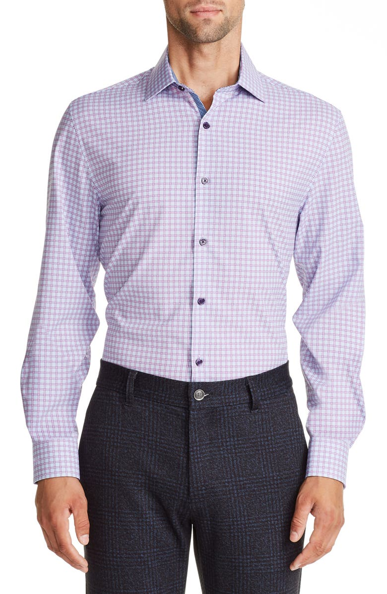 W.R.K Trim Fit Check Performance Dress Shirt, Main, color, PURPLE