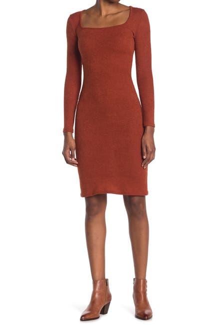 Image of Velvet Torch Square Neck Ribbed Knit Dress
