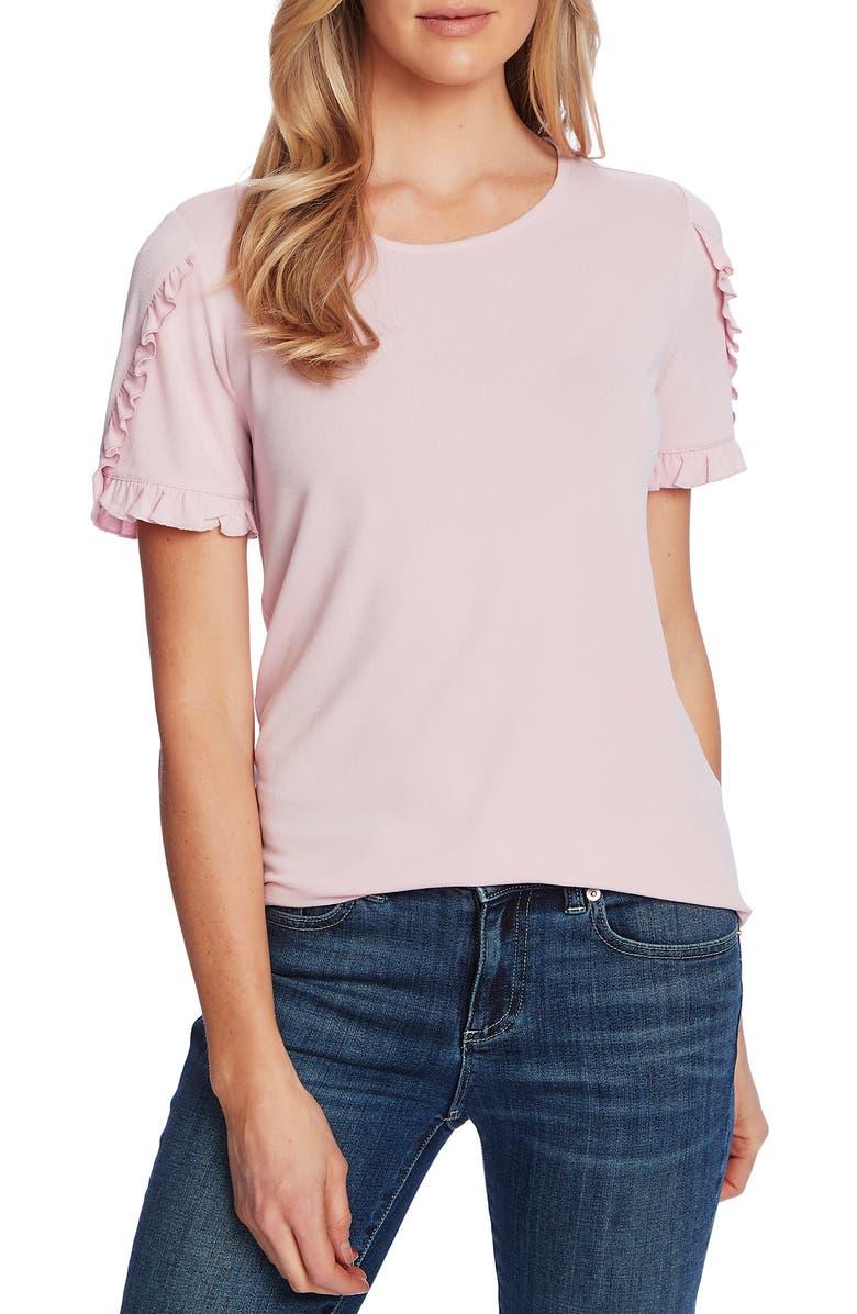CECE Ruffle Trim Crepe Top, Main, color, MOUNTAIN ROSE
