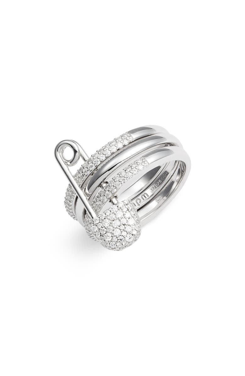 APM MONACO Baby XL Safety Pin Ring, Main, color, SILVER