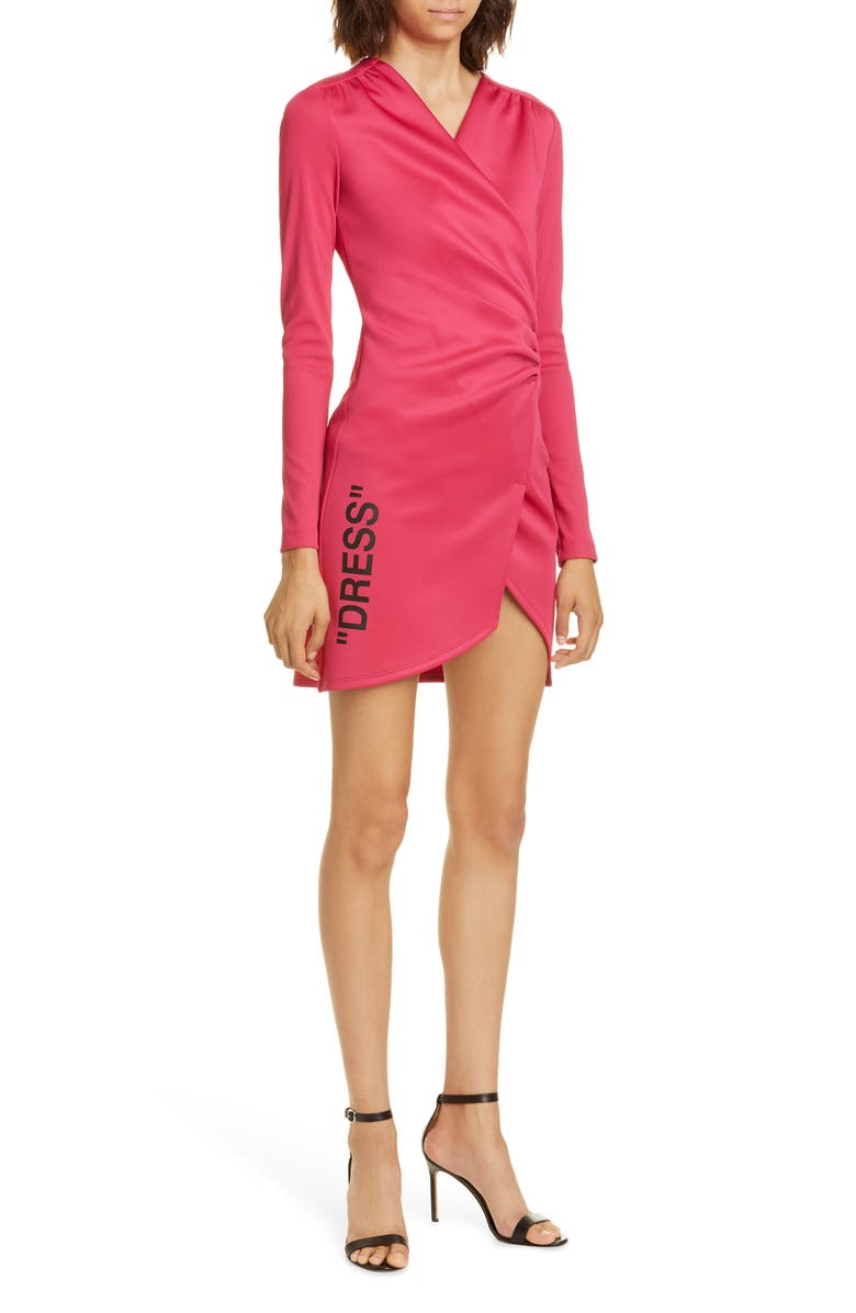 OFF-WHITE Ribbed Long Sleeve Minidress, Main, color, 650