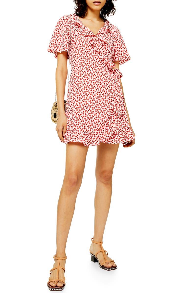 TOPSHOP Floral Print Wrap Minidress, Main, color, RED MULTI
