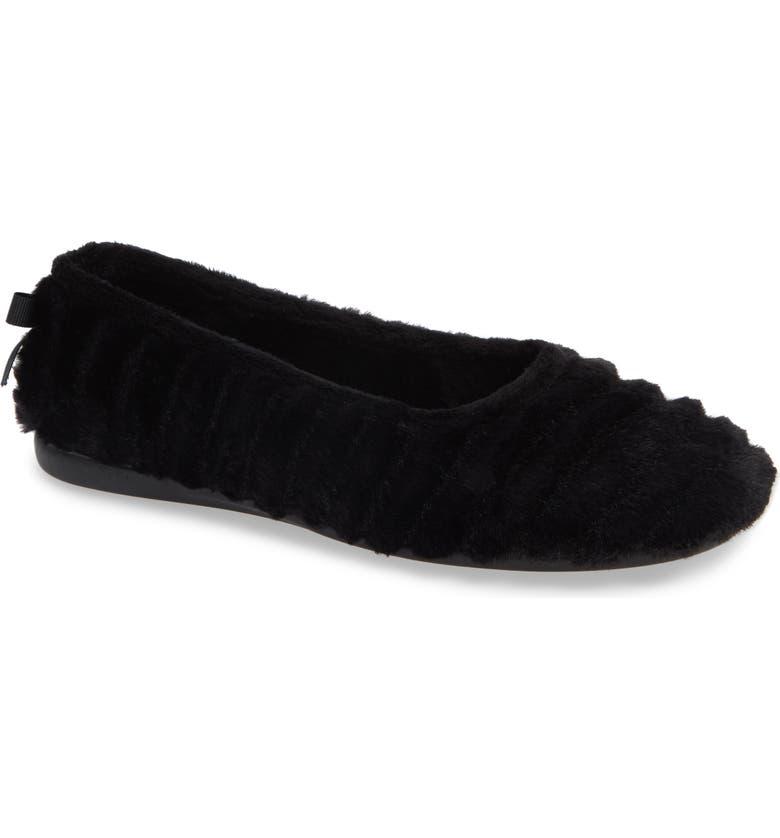 PATRICIA GREEN Jane Faux Fur Slipper, Main, color, BLACK FABRIC