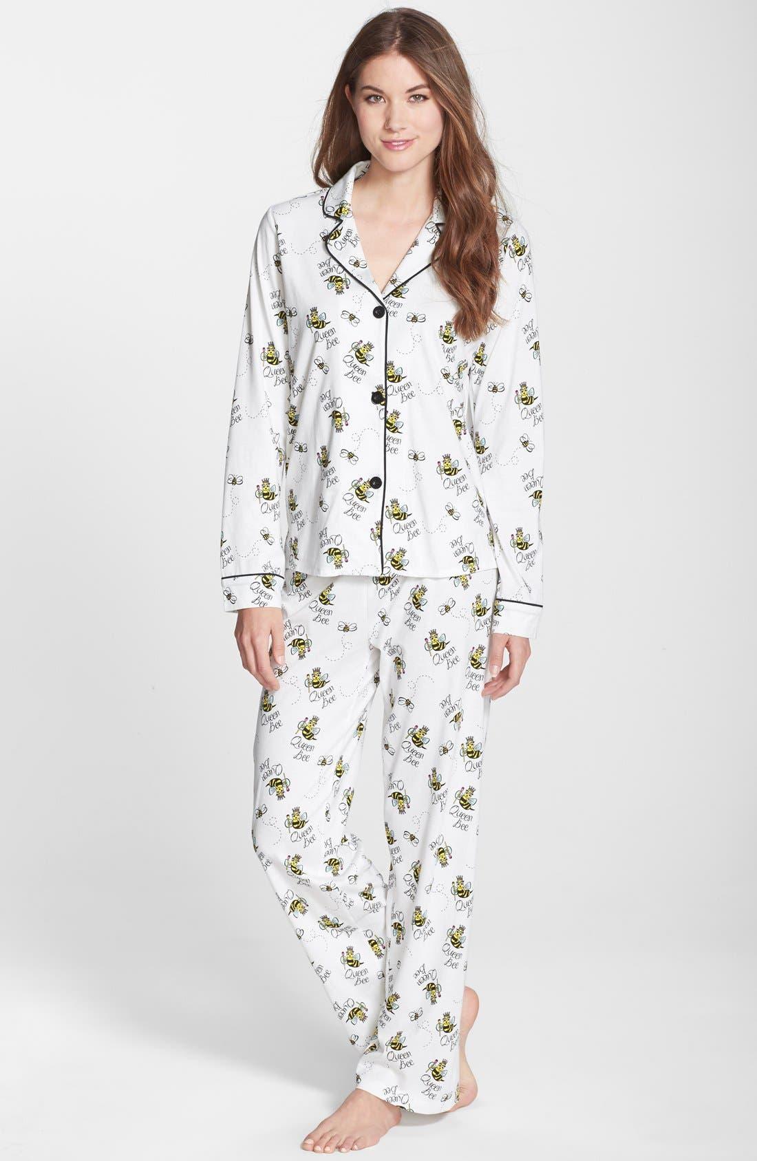 ,                             Print Jersey Pajamas,                             Main thumbnail 7, color,                             100