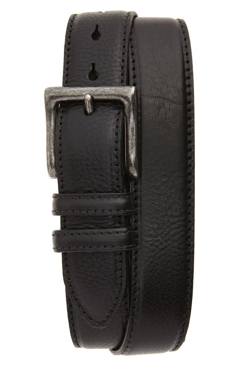 TORINO Calfskin Leather Belt, Main, color, BLACK