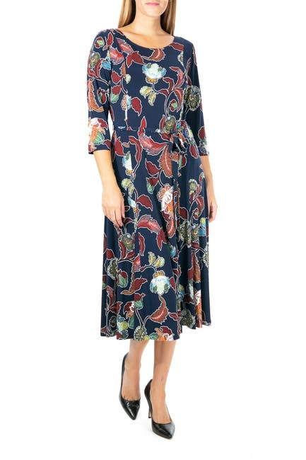 Image of Nina Leonard Floral Scoop Neck Midi Dress