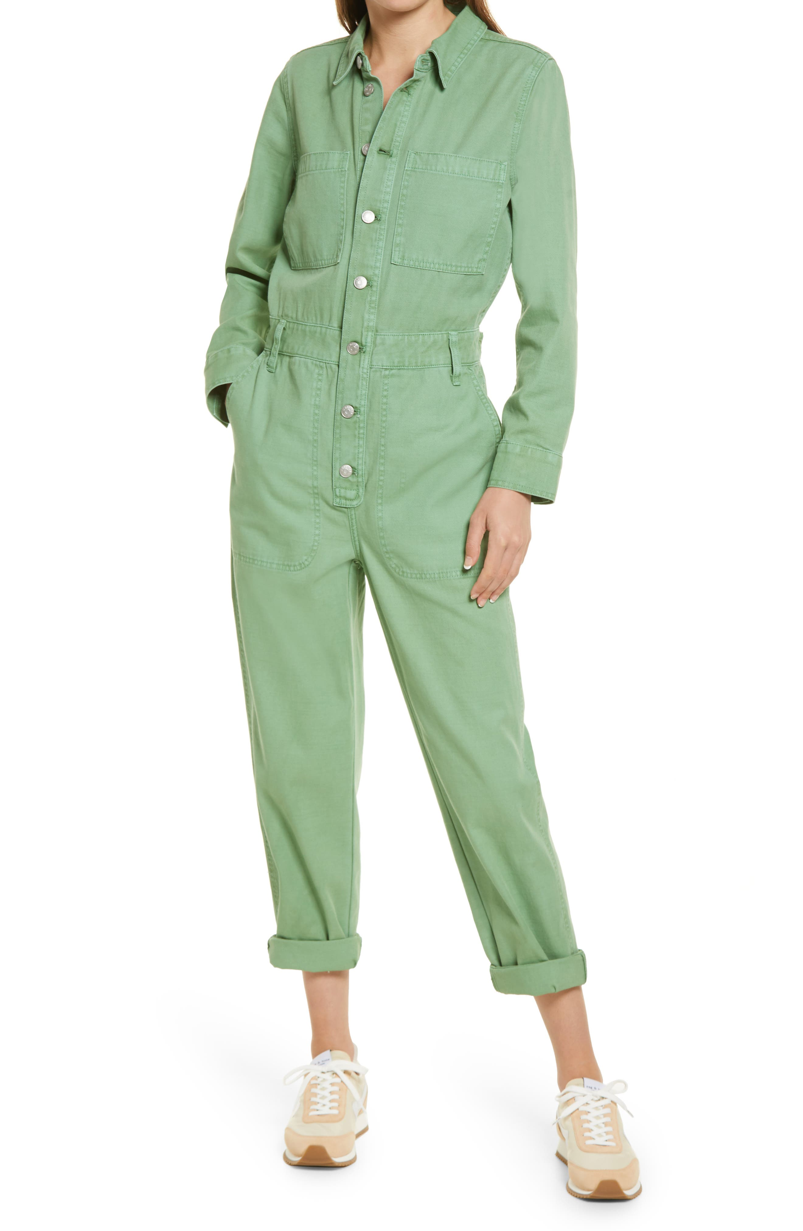 Vintage Overalls & Jumpsuits Womens Madewell Womens Garment Dyed Relaxed Coverall Jumpsuit Size Large - Ivory $148.00 AT vintagedancer.com
