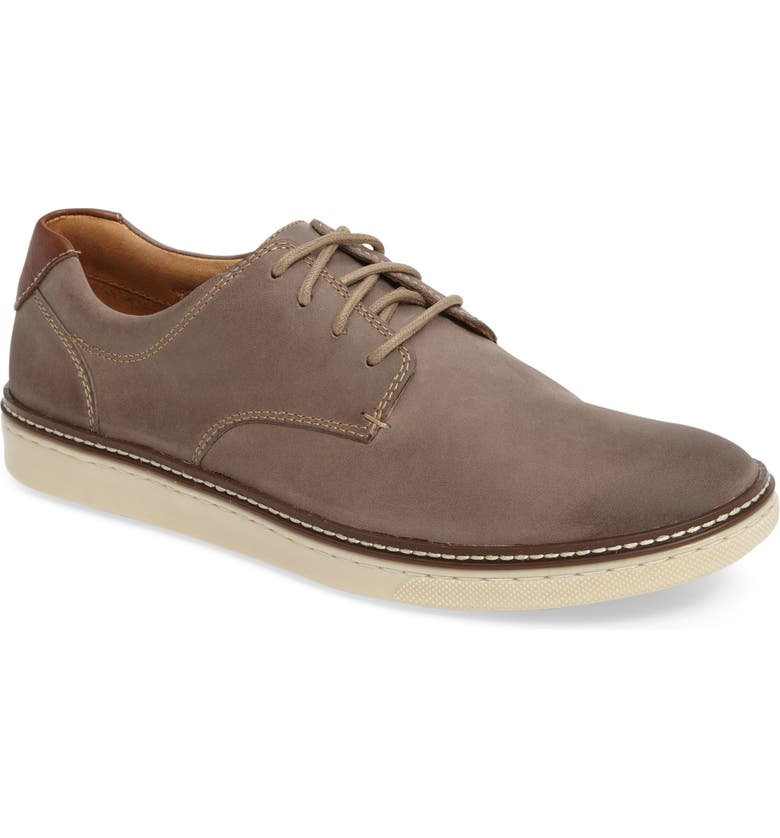 JOHNSTON & MURPHY McGuffey Plain Toe Sneaker, Main, color, GREY NUBUCK LEATHER