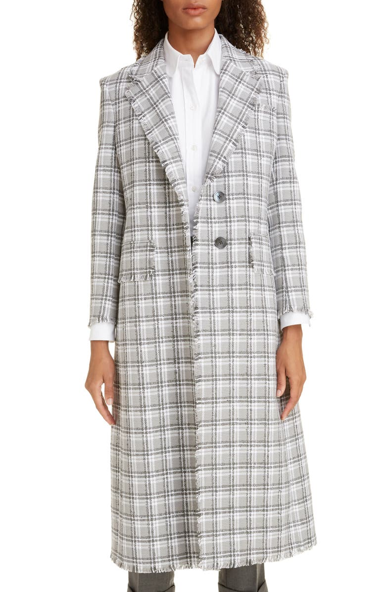 THOM BROWNE Fray Tweed Coat, Main, color, 020