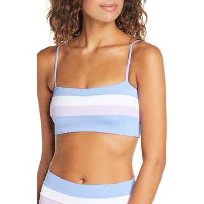 L Space Rebel Stripe Bikini Top, Blue/green