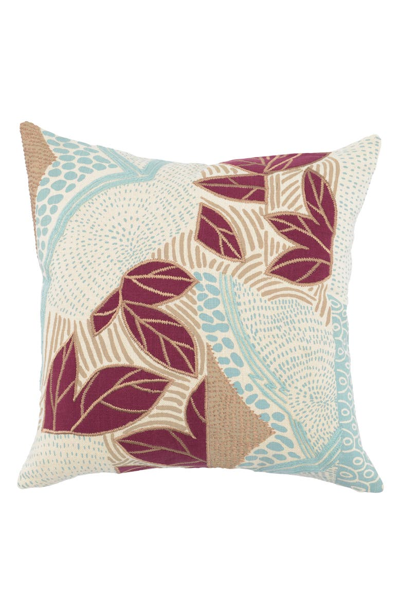 VILLA HOME COLLECTION Heather Accent Pillow, Main, color, SURF/ BERRY