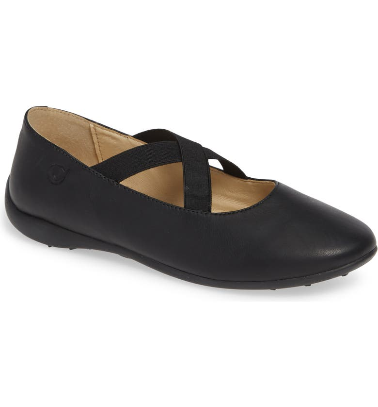NATURINO Matera Ballet Flat, Main, color, BLACK LEATHER