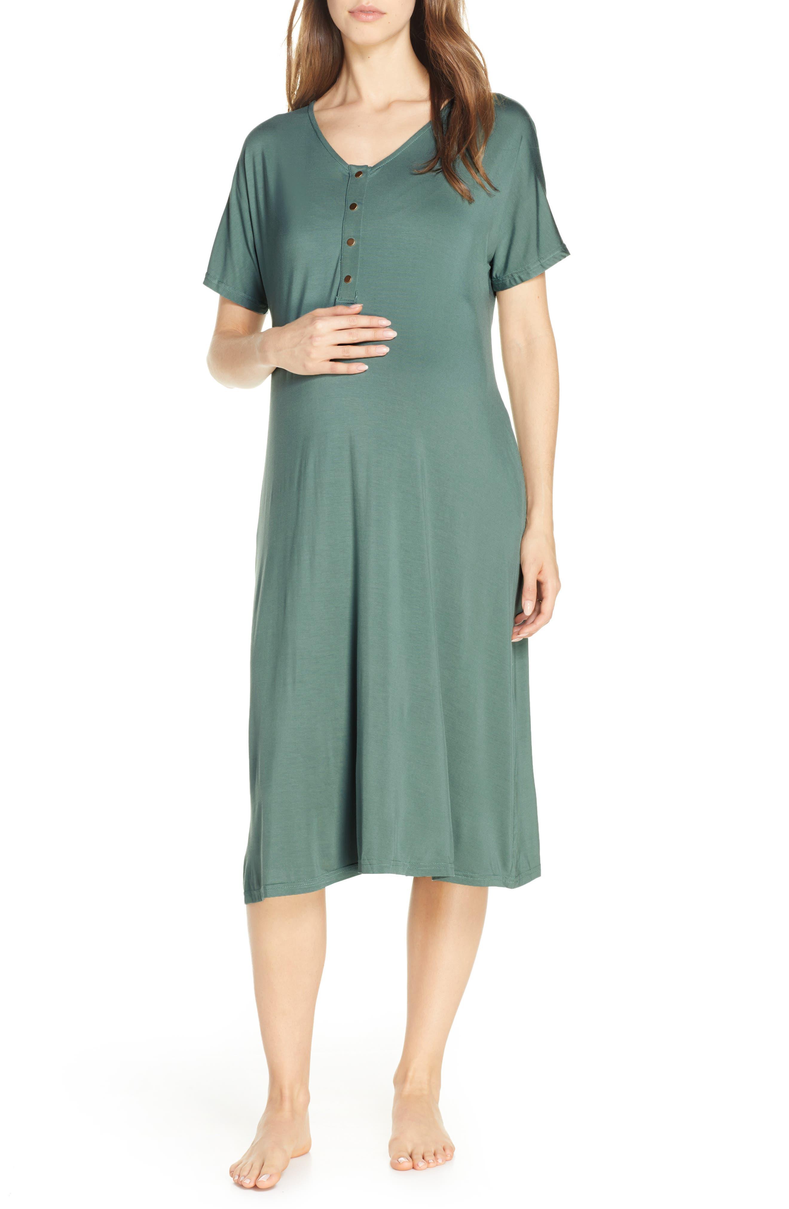 Nesting Olive Solid Maternity/nursing Nightshirt, Blue