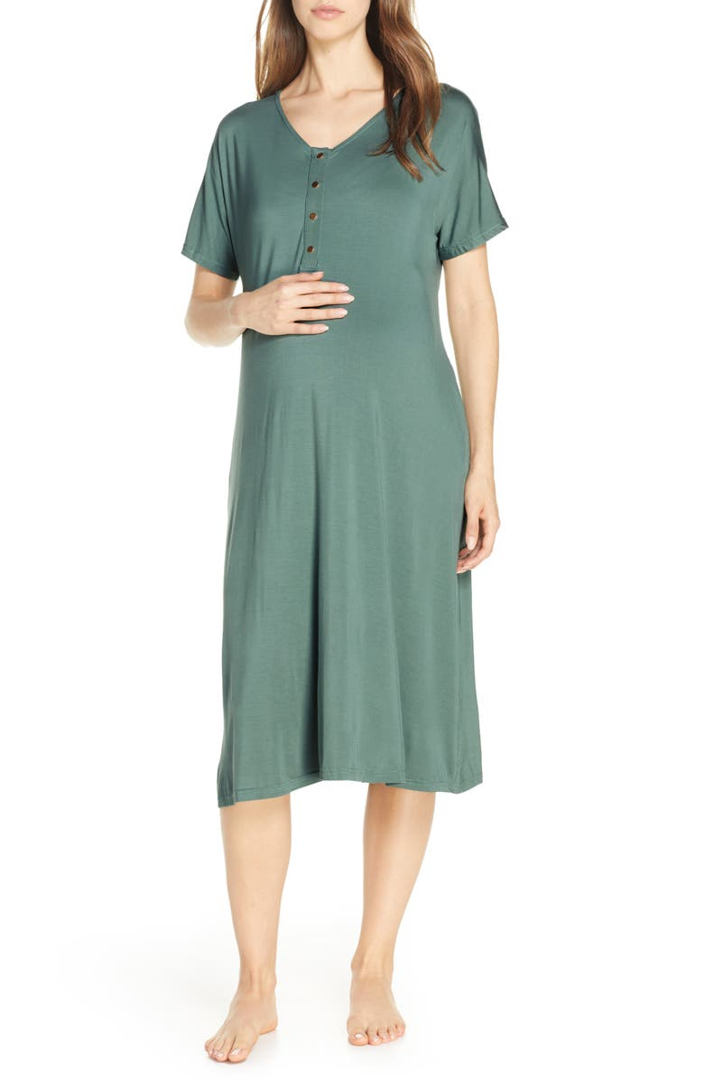 NESTING OLIVE Solid Maternity/Nursing Nightshirt, Main, color, SOLID- TEAL
