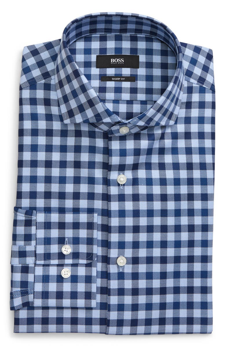 BOSS Mark Trim Fit Check Dress Shirt, Main, color, BLUE