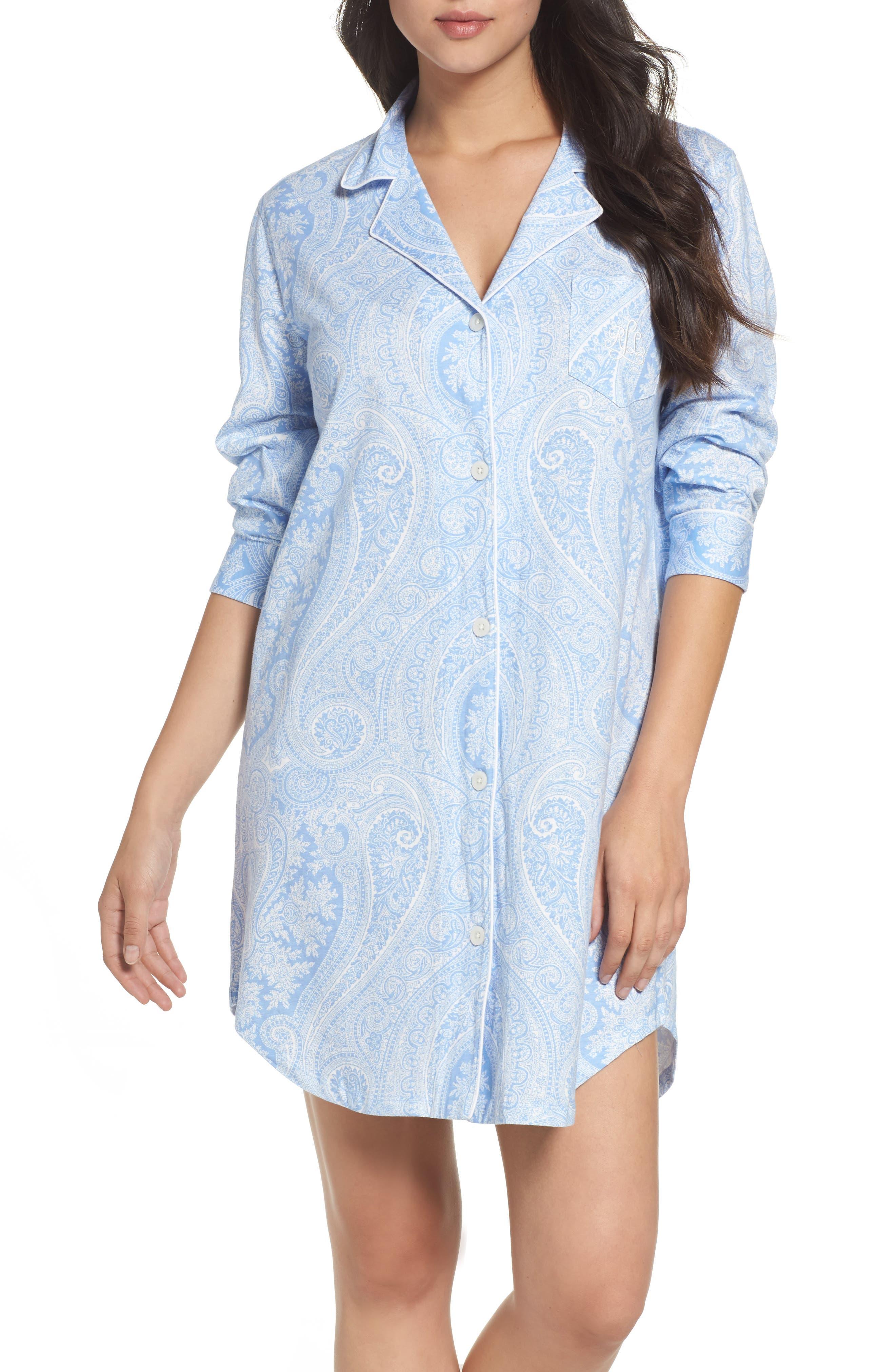 ,                             Jersey Sleep Shirt,                             Main thumbnail 1, color,                             BLUE PAISLEY