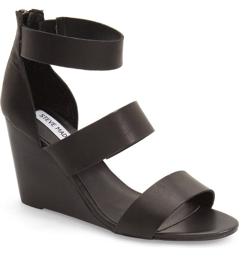 STEVE MADDEN 'Karey' Wedge Sandal, Main, color, 001