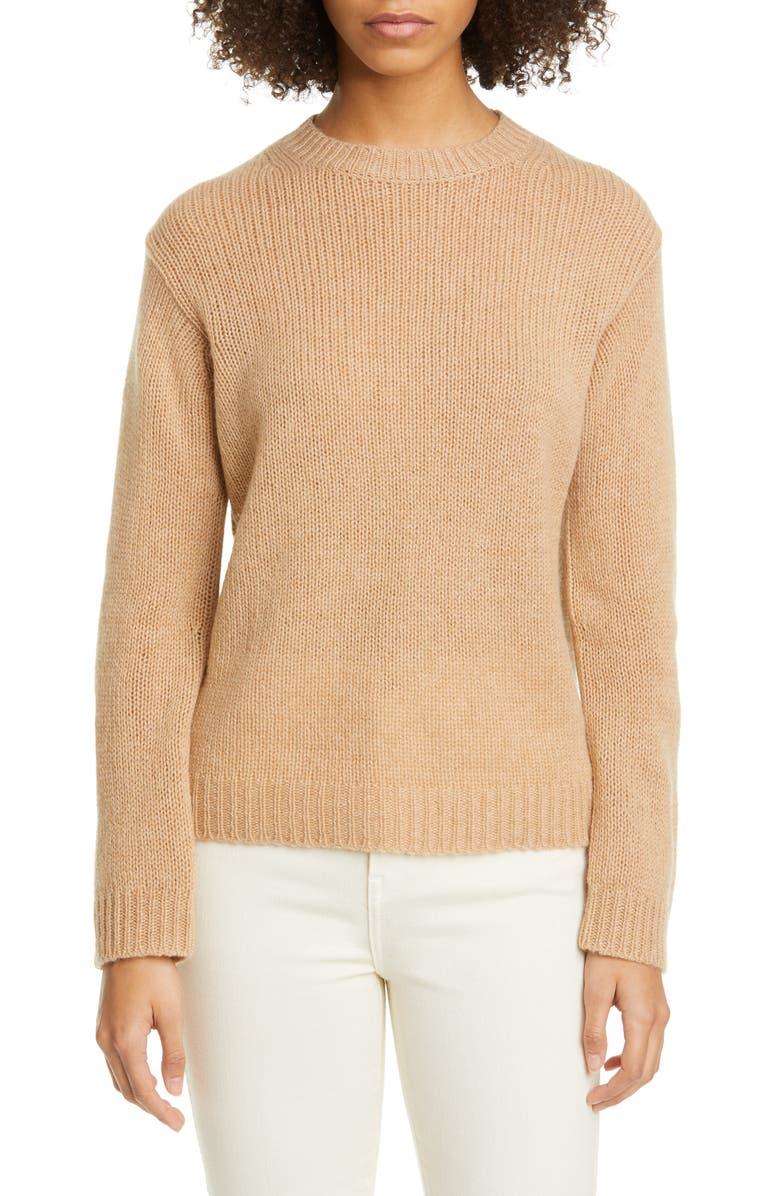 SOFIE D'HOORE 3-Ply Cashmere Sweater, Main, color, CAMEL