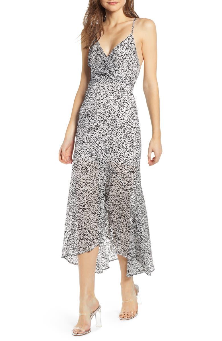 4SI3NNA Animal Print Crossback Maxi Dress, Main, color, 100