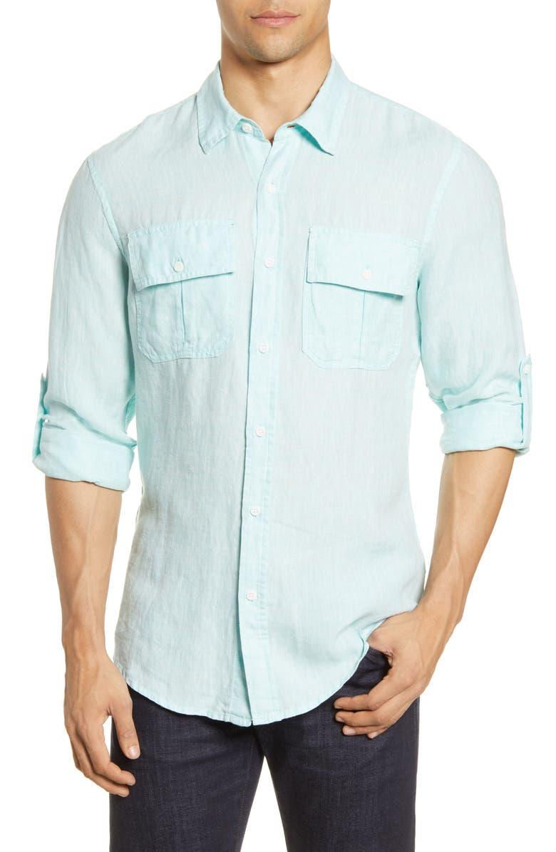 ONIA Garret Linen Button-Up Shirt, Main, color, REEF BLUE