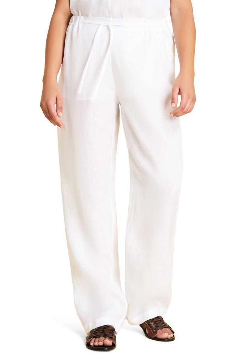 MARINA RINALDI Registro Wide Leg Linen Pants, Main, color, 100