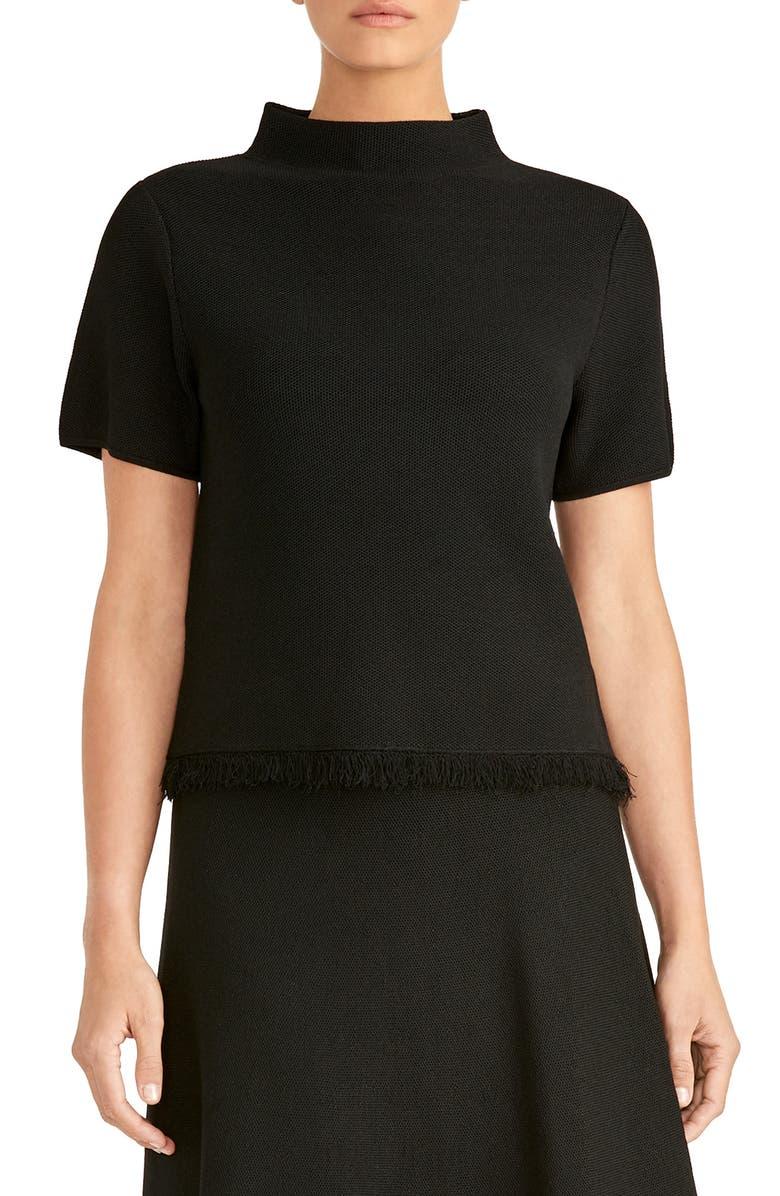 RACHEL ROY COLLECTION Crop Mock Neck Sweater, Main, color, BLACK