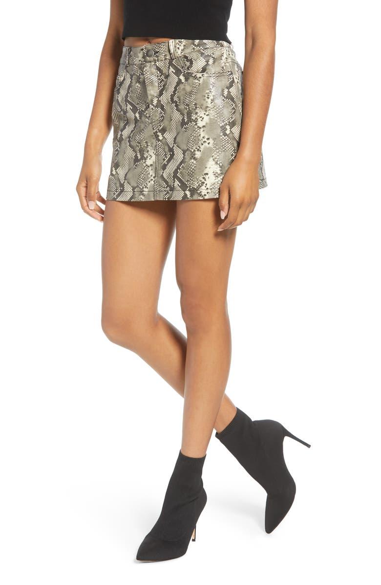 VIGOSS Snake Coated Miniskirt, Main, color, GREY/ TAUPE