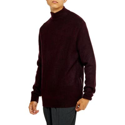 Topman Harlow Classic Fit Side Zip Mock Neck Sweater, Burgundy