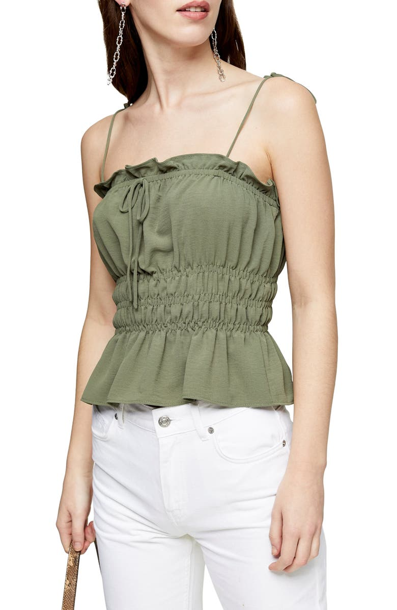 TOPSHOP Shirred Peplum Camisole, Main, color, OLIVE